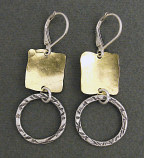 Sterling Silver Circle & Brass Square Earring