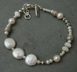 Pearl Sterling Sivler & Mother of Pearl Bracelet