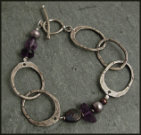 Etched Oxidized Sterling, Amethyst and Peacock Pearl Bracelet