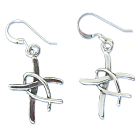 Sterling Silver Fisherman's Cross Earrings