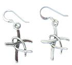 Sterling Silver Fisherman's Cross Earrings