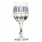 Hanukkah Dreidel Wine Glass Hand Painted