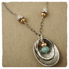Amazonite & Pearl Sterling Oval Pendant Necklace