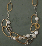 Pearl Sterling & 14kt Goldfilled Oval Necklace