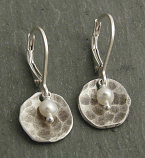 Pearl & Hammered Sterling Disc Earring