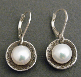 Pearl in Oxidized Sterling Cups Earring