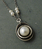 Pearl Cupped Pendant Sterling Necklace