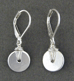 Sterling Wrapped Disc Earring