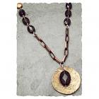 Oxidized Patterned Brass Pendant with Smoky Quartz Necklace