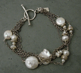 Pearl & Sterling Oxidized Chain Bracelet