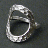 Sterling Hammered Open Circle Ring
