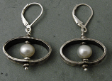 Pearl & Oxidized Sterling Silver Oval Earring