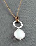 Pearl & Sterling Ring Drop on Brown Cord Necklace