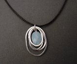 Amazonite w/ Sterling Hoops on Leather Necklace