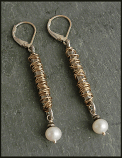 Pearl 14kt Goldfilled Wrapped Sterling Drop Earring
