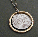 Sterling Disc w/ 14kt Goldfilled Circle Pendant Necklace
