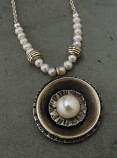 Pearl Set on Circular Sterling Pendant