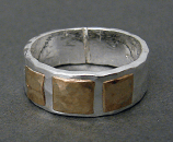 Sterling & 14kt Goldfilled Hammered Squares Ring