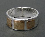 Sterling & 14kt Goldfilled Hammered Squares Ring