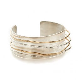 Riptide Cuff Sterling and 14kt Gold Fill Wide Band