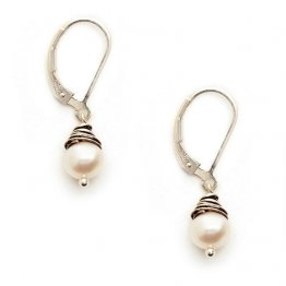 White Pearl Wrapped In Oxidized Sterling