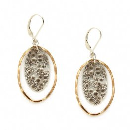 Sterling Silver & 14kt Gold Fill Oval Earring