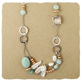 Amazonite, Pearl and Sterling Necklace