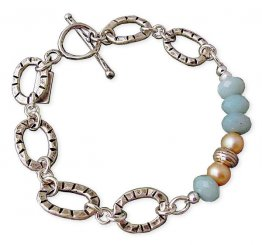 Amazonite, Tan Pearl & Etched Sterling Oval Bracelet