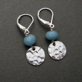 Amazonite Hammered Sterling Disc Earring