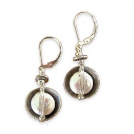 Pearl Hand Wrapped in Sterling Cup Earring