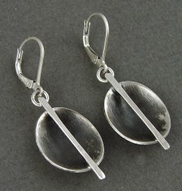 Sterling Cup w/ Bisecting Linear Stick Earring