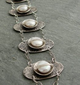 Pearl Sterling Wrapped Oxidized Disc Bracelet