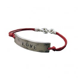 Sterling 'LOVE' on Red Cord