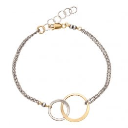 Oxizided Sterling Silver and 14kt Gold Filled Open Circle Bracelet