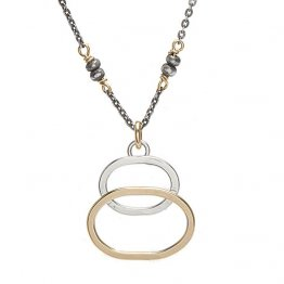 Silver and 14k GF  Ovals on OX Sterling Silver Chain