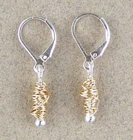 Sterling & Gold Wire Wrap Earring