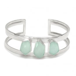 Jagged Faceted Aqua Chalcedony Sterling Silver Cuff