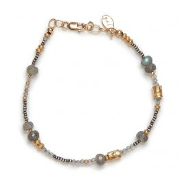 Labradorite 14kt Vermeil, and Oxidized Sterling Bracelet