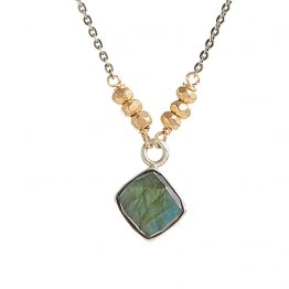 Labradorite Square Set in Sterling with 14kt Gold Vermeil on Sterling Silver Necklace