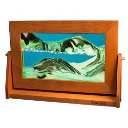 Cherry Wood Moving Sand Pictures Turquoise Lg.