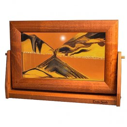Sand Art Picture Sunset Orange Alder Wood Frame Lg.