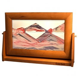 Moving Sand Pictures Lg Red Volcanic Clear in Cherry Frame