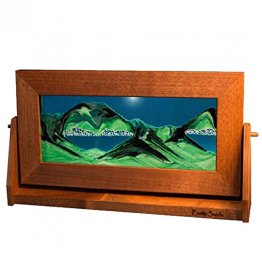 Flowing Sand Picture Art Med. Turquoise In Alder Frame