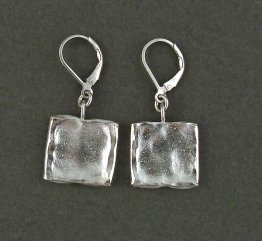 Sterling Hammered Square Drop Earring
