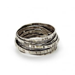 Sterling Oxidized Patterned Concave Ring