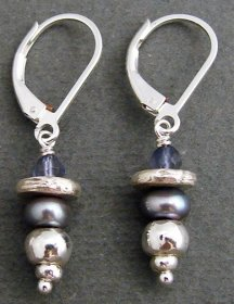 Lolite & Lilac Pearl Sterling, Earring