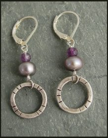 Etched Oxidized Sterling Ring with Amethyst and Lilac Pearl Earring