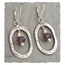 Smoky Quartz Hammered & Oxidized Sterling Oval Earring