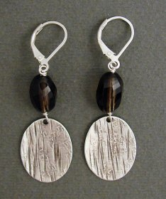 Smoky Quartz & Sterling Silver Earring