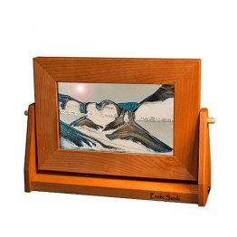 Desktop Moving Sand Art Pictures Arctic Glacier Clear Cherry Wood
